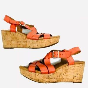 Clarks women's Sz 7.5M Sandals Leather Orange